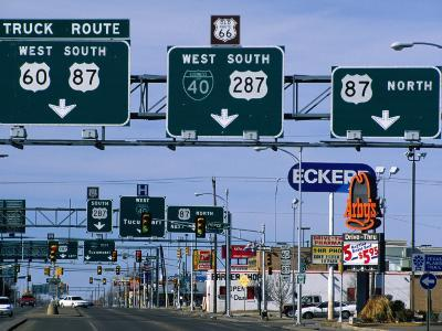 Route 66, Road Signs Amarillo Boulevard, Amarillo, Texas
