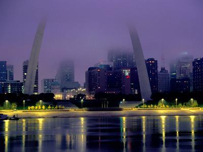 City Skyline in Fog, with Gateway Arch and Mississippi River, St. Louis, Missouri