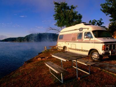Campervan Parked Beside Lake, Ozark National Park, Missouri