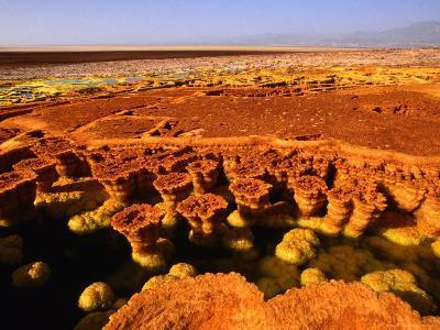 Encrusted Pool and Barren Landscape, 116M Below Sea Level, Dallol, Danakil Depression, Ethiopia