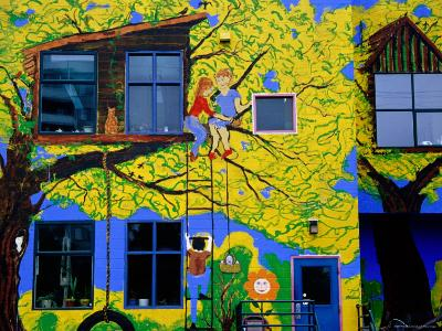 Brightly Painted Exterior of School on Commercial Drive, Vancouver, British Columbia, Canada