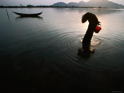Woman Searches for Crustaceans in Lagoon on Vietnam's Central Coast, Ninh Thuan, Vietnam