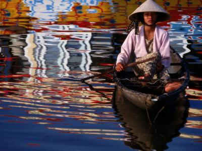 Woman in Boat, Reflection of Newly Painted Boat on Perfume River, Hue, Thua Thien-Hue, Vietnam