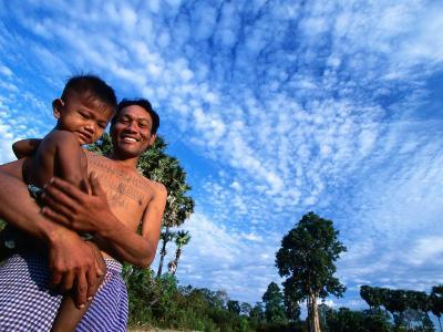 Father with Son on Their Farm Near Angkor Wat, Siem Reap, Siem Reap, Cambodia