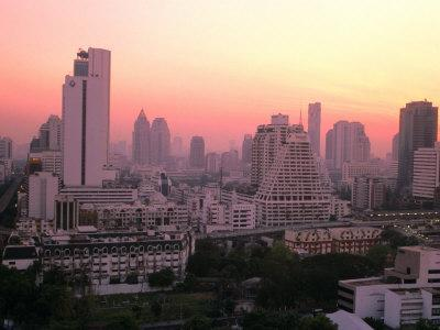 Sunset over City Buildings, Bangkok, Thailand