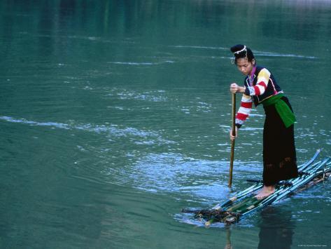 CANVAS Vietnamese Fishing in Raft Art print POSTER