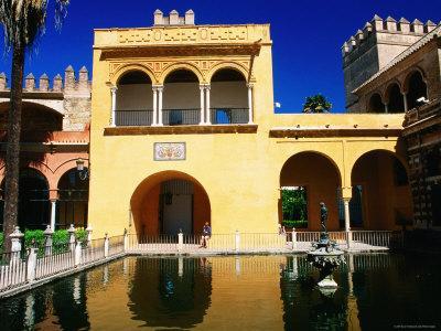 Mercury's Pool in Gardens of Reales Alcazares, Sevilla, Andalucia, Spain