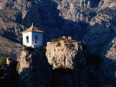Clifftop Bell-Tower with Backdrop of Rugged Mountains, Guadalest, Valencia, Spain