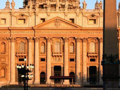 Facade of St. Peter's Basilica at Sunrise, Piazza San Pietro, Vatican City, Rome, Lazio, Italy