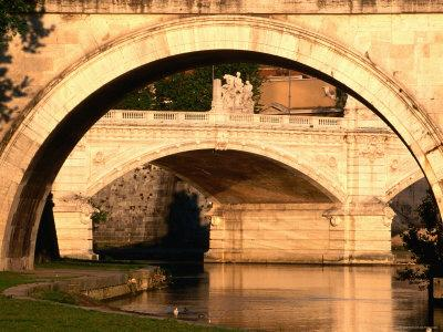 Ponte Vittorio Emanuele II through Arch of Ponte Sant'Angelo, Rome, Italy