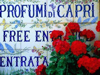 Ceramic Tiles Advertising Entrance to Perfumery, Capri Town, Capri, Campania, Italy
