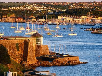 Entrance to Sutton Harbour at Sunset, Plymouth, England