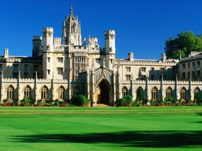 St. John's College across Lawn, Cambridge, England