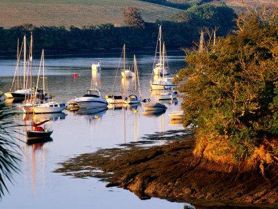 Boats on Kingsbridge Estuary at East Portlemouth, Evening, Salcombe, Devon, England