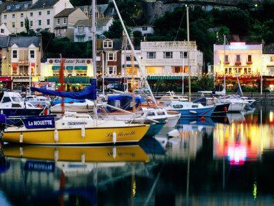 Lights and Yachts Reflected in Harbour at Dusk, Torquay, Torbay, England
