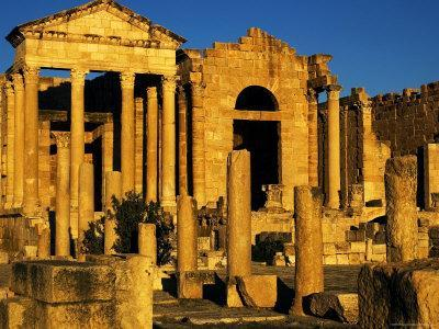 Temples of Minerva, Jupitor and Juna and Forum at Roman Ruins of Sufetula, Tunisia