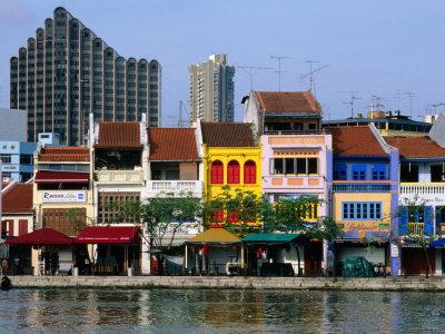 Former Chinese Shophouses, Now Restaurants, along Singapore River Boat Quay, Singapore
