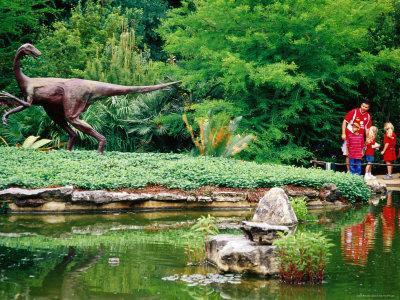 Children and Adult Standing near Ornithomimus Dinosaur Sculpture, Austin, Texas