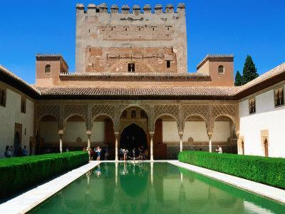 Patio de Los Arrayanes in Palacio Nazaries in Alhambra, Granada, Andalucia, Spain
