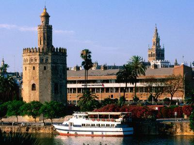Boat on River in Front of Torre del Oro, Sevilla, Andalucia, Spain