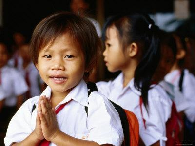 Local School Children Assemble Before School, Kampot, Cambodia