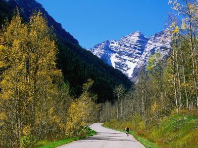 Cyclist on Road to Maroon Bells, Aspen, Colorado