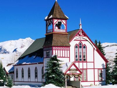 Union Congregational Church in Snow, Crested Butte, Colorado