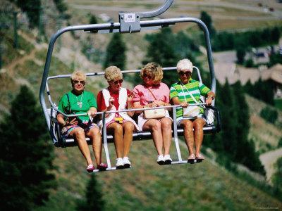 Four Women on Chairlift, Sun Valley, Idaho