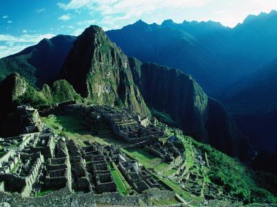 Ancient Ruins on Hillside, Machu Picchu, Cuzco, Peru