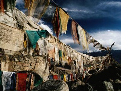 Prayer Flags Above Leh, Ladakh, Leh, Jammu and Kashmir, India