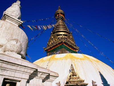 Swayambunath Temple with Prayer Flags, Kathmandu, Bagmati, Nepal