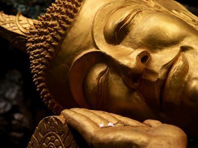 Sleeping Buddha Head with Frangipani Petals in Open Palm, Luang Prabang, Laos