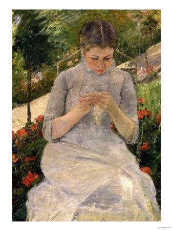 Young Girl in the Garden, Woman Sewing, c.1880