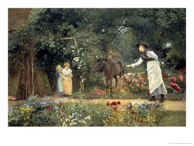 Feeding a Pony in a Surrey Garden