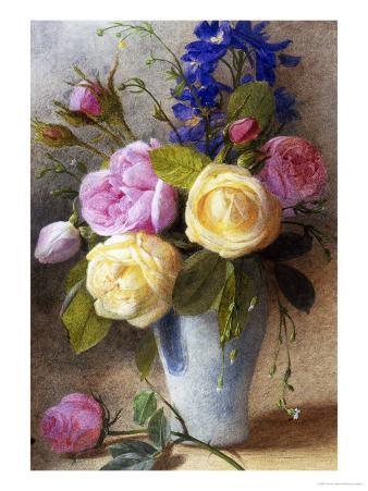 Roses and Delphinium in a Vase