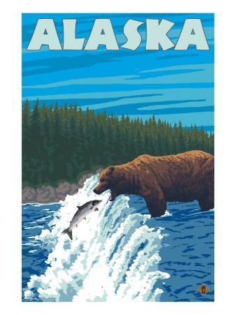 Alaska Bear Fishing for Salmon