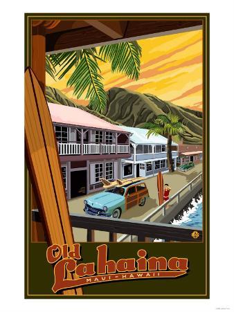 Old Lahaina Fishing Town with Surfer, Maui, Hawaii