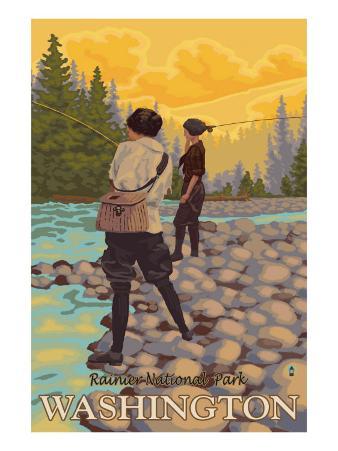 Women Fly Fishing, Mt. Rainier National Park, Washington