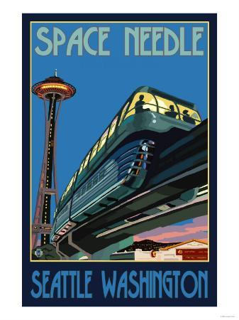 Space Needle and Monorail, Seattle, Washington