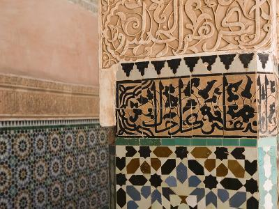 Courtyard Detail, Ali Ben Youssef Madersa Theological College, Marrakech, Morocco