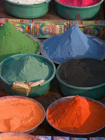 Selling Holy Color Powder at the Market, Puri, Orissa, India