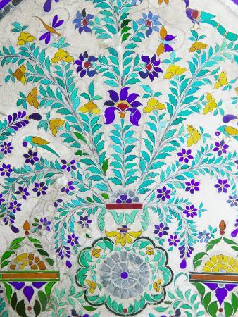 Decorated Tile Painting at City Palace, Udaipur, Rajasthan, India
