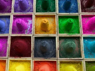 Selling Color Powder at Market, Pushkar, Rajasthan, India