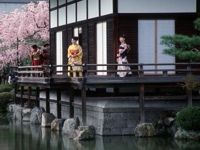 Mother and Daughter at Shobi-Kan Teahouse, Garden at Heian Shrine During Cherry Blossom Festival