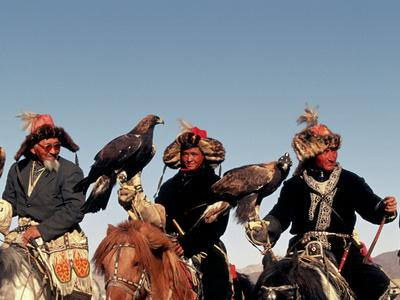 Hunters from Sagsai Sum, Bechik, Tek and Khalbek, Golden Eagle Festival, Mongolia