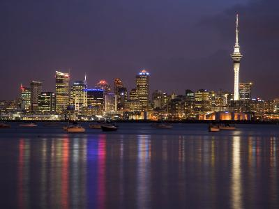 Auckland Cbd, Skytower and Waitemata Harbor, North Island, New Zealand