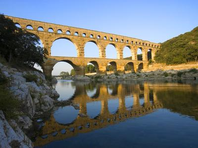 The Pont du Gard Roman Aquaduct Over the Gard River, Avignon, France