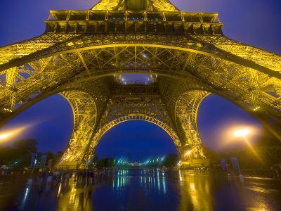 Eiffel Tower Illuminated at Night, Paris, France