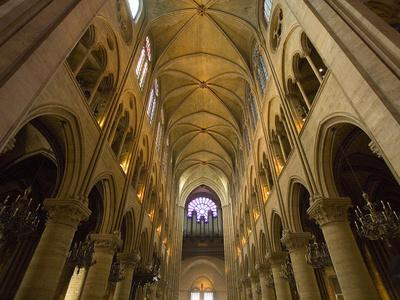 Interior of Notre Dame Cathedral with Pipe Organ in Background, Paris, France