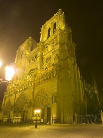 Exterior of Notre Dame Cathedral at Night, Paris, France